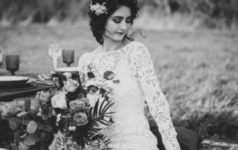 camp wedding bridal with bouquet